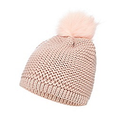 Mantaray - Pink knit faux fur pom beanie hat