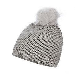 Mantaray - Grey knit faux fur pom beanie hat