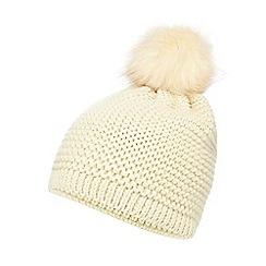 Mantaray - Cream knit faux fur pom beanie hat