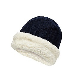 Mantaray - Blue knitted reverse hat with lambswool