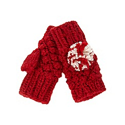 Mantaray - Red knit fingerless mittens