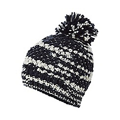 Mantaray - Navy and white pom pom beanie hat