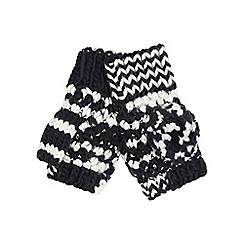 Mantaray - Navy knitted pom pom mittens
