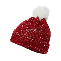Mantaray - Red glitter pom pom beanie hat