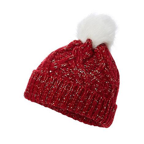 Mantaray - Red glitter pom pom beanie hat