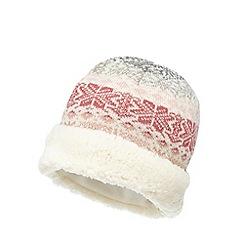 Mantaray - Pink knitted Fair Isle print hat