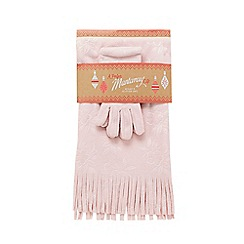 Mantaray - Light pink floral debossed hat, scarf and gloves set