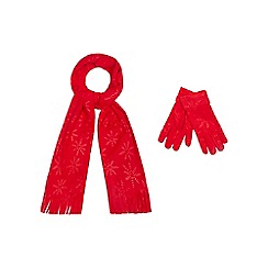 Mantaray - Red scarf and gloves set