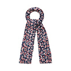 Mantaray - Navy mistletoe print scarf