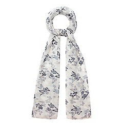 Mantaray - Navy butterfly print fringed scarf
