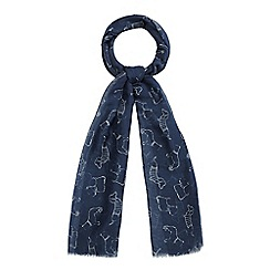 Mantaray - Navy Dachshund print scarf