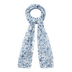 Mantaray - Blue blurred floral print scarf
