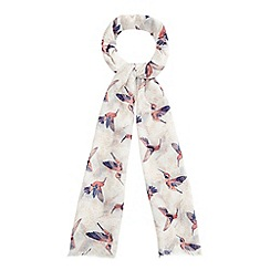 Mantaray - Ivory Hummingbird print fringed scarf