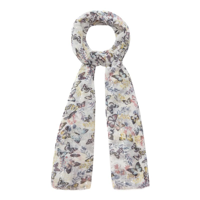 Mantaray Multi-coloured butterfly print scarf