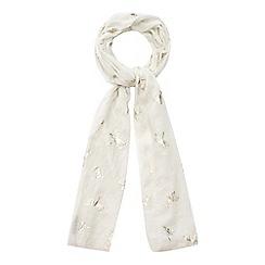 Mantaray - Ivory dragonfly print scarf