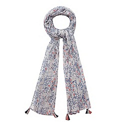 Mantaray - Blue bluebell print tasselled scarf