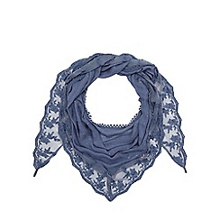 Mantaray - Blue sequin embellished scarf