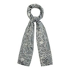 Mantaray - Grey floral embroidered scarf