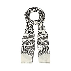 Mantaray - Cream and grey textured floral scarf