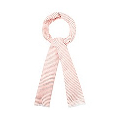 Mantaray - Dark orange metallic striped scarf with linen