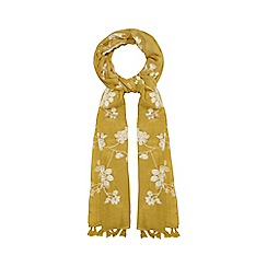 Mantaray - Lime floral embroidered scarf