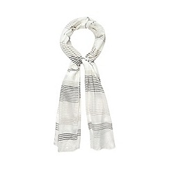 Mantaray - White and grey metallic striped scarf with linen