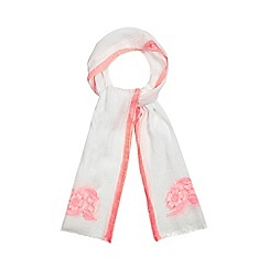 Mantaray - Coral floral embroidered scarf