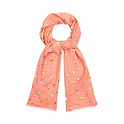Mantaray - Peach spot embroidered scarf