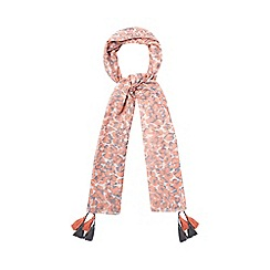 Mantaray - Light orange and grey animal print tasselled scarf