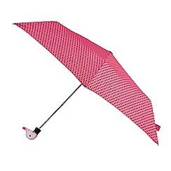 Isotoner - Pink polka dot print umbrella