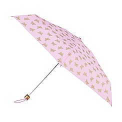 Isotoner - Metallic gold butterfly print umbrella