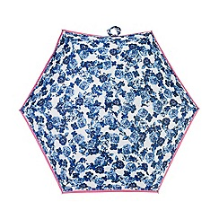 Isotoner - Tonal blue cabbage rose print umbrella