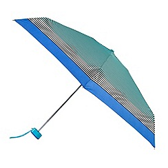 Isotoner - Black stripe and blue border print umbrella