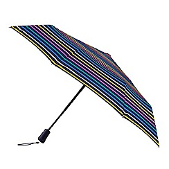 Totes - Multi coloured auto open and close extra strong visual stripe print 3 section umbrella