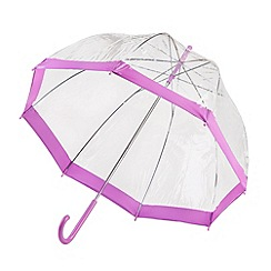 Isotoner - Lilac crook handle and lilac border PVC dome umbrella