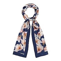 RJR.John Rocha - Navy floral scarf with silk