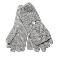 Grey Cable Knitted Mitten Gloves