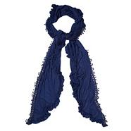 Navy Ruffled And Crochet Trimmed Scarf