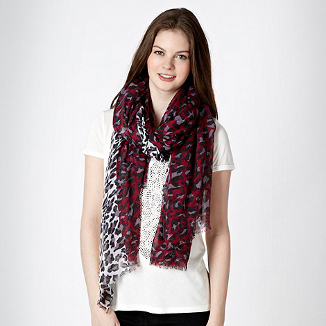 Red Herring - Plum leopard and border printed scarf