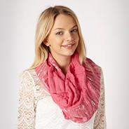 Pink Metallic Striped Ruffled Snood