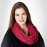 Pink Metallic Loose Knitted Snood
