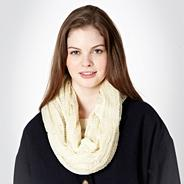 Cream Metallic Loose Knitted Snood