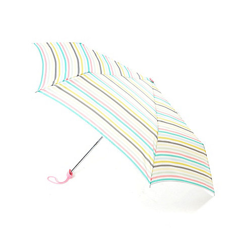 Totes - Multicoloured mini flat stripe umbrella