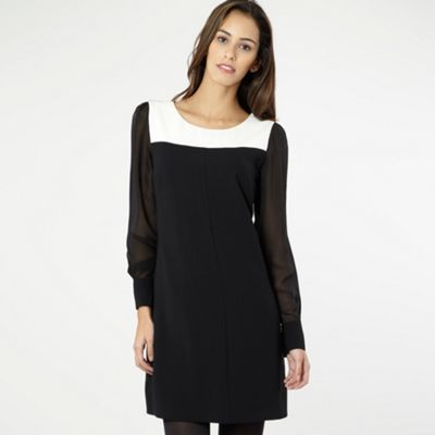 Black Sheer Sleeve Tunic Dress