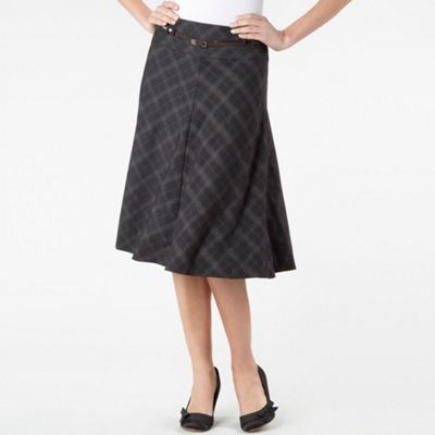 Brown Check Print Skirt