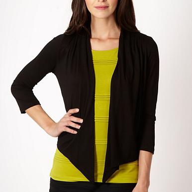 Black pleat drape cardigan