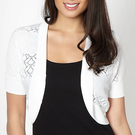 The Collection - White crocheted stripe cardigan