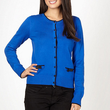 The Collection - Royal blue tipped bow cardigan