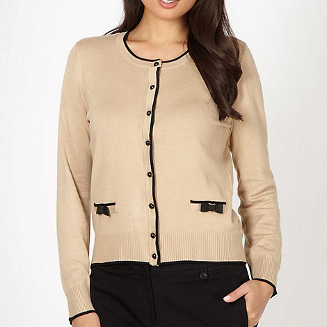 The Collection - Camel bow trim knitted cardigan