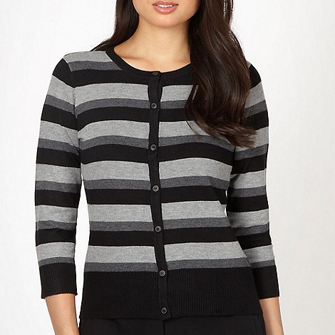 The Collection - Black and grey striped knitted cardigan